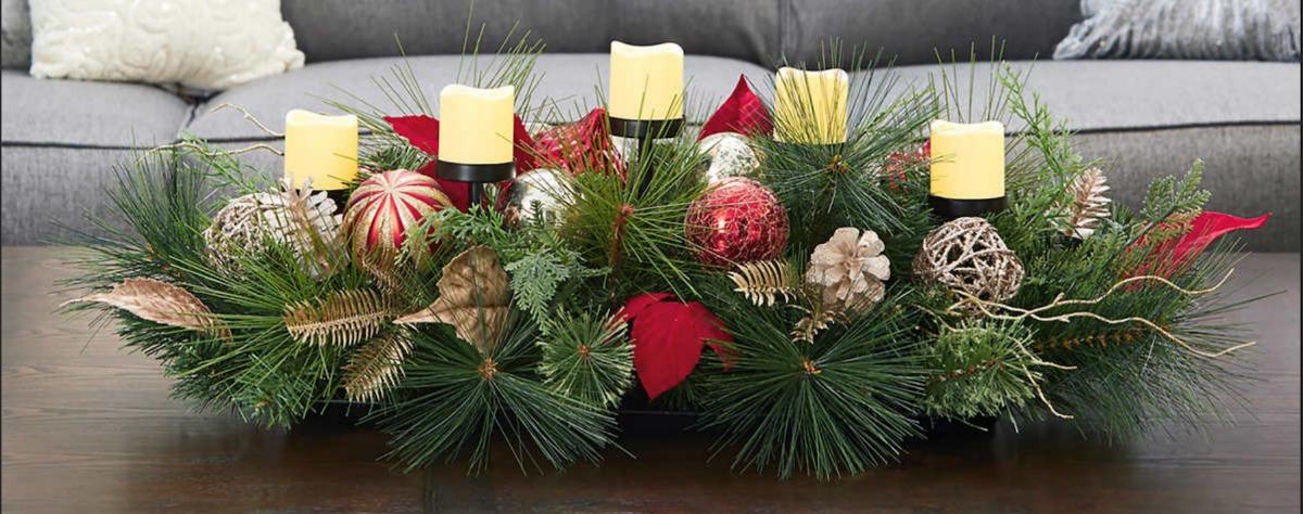 Centro de mesa navide o c 5 velas led navidad 76 cm sk - Centro de mesa navideno ...