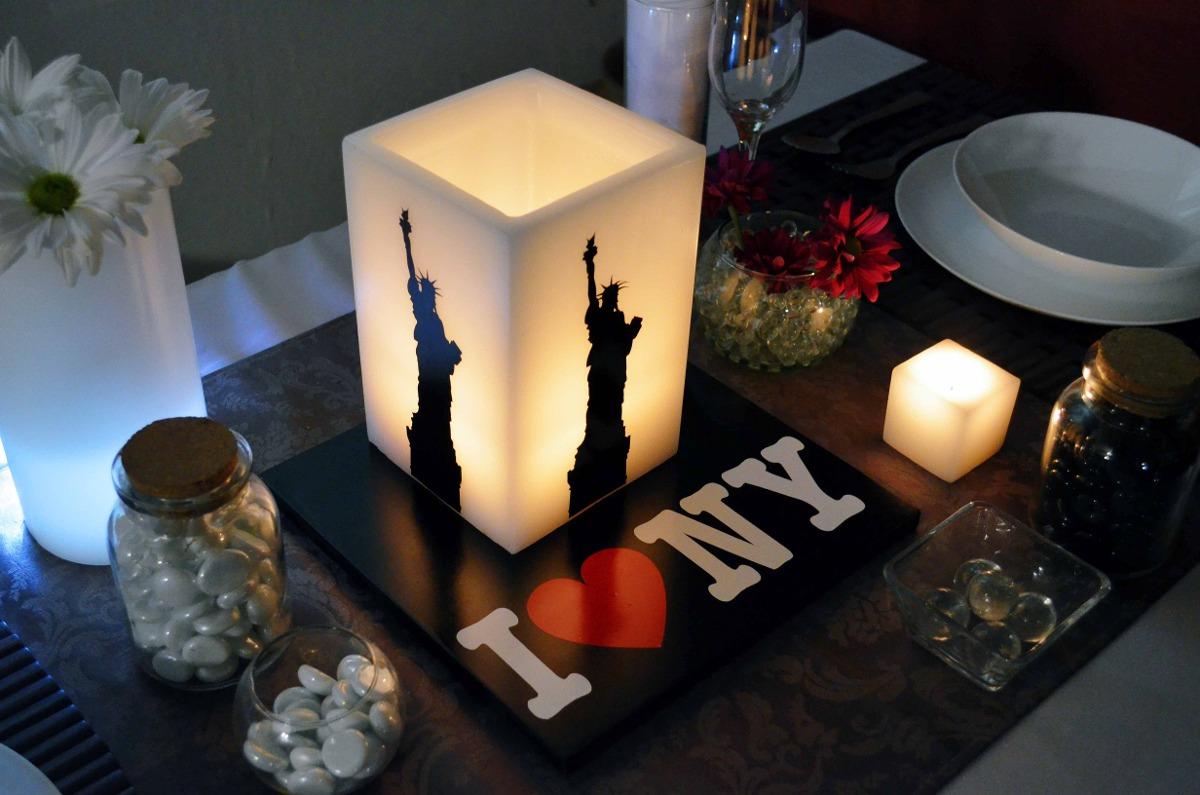 Centro de mesa new york para xv a os aluzza en for App decoracion hogar