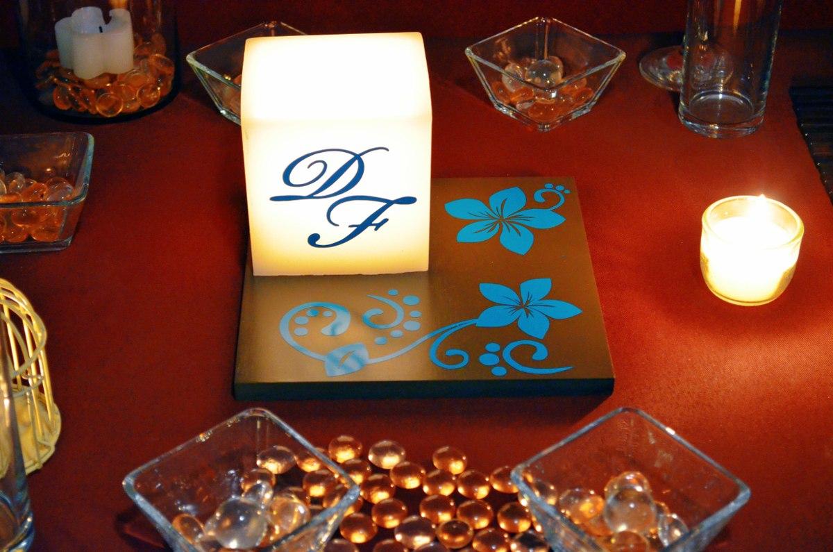 Centro de mesa para boda en tono chocolate y turquesa - Centros de mesa para bodas precios ...