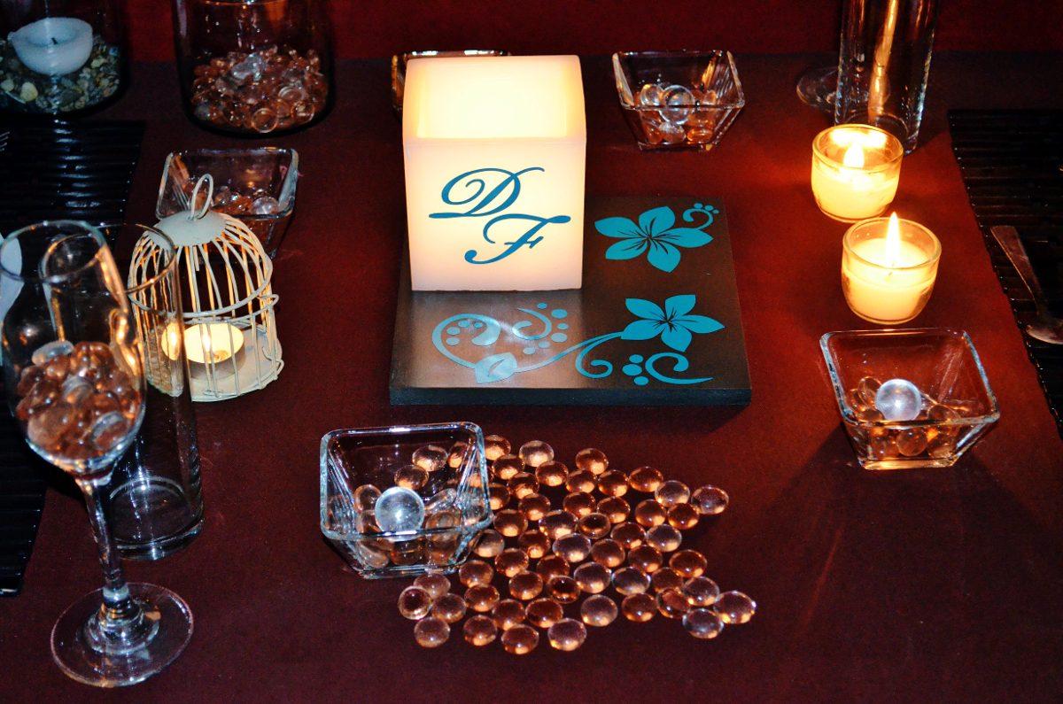 Centro de mesa para boda en tono chocolate y turquesa aluzza en mercado libre - Precios de centros de mesa para boda ...