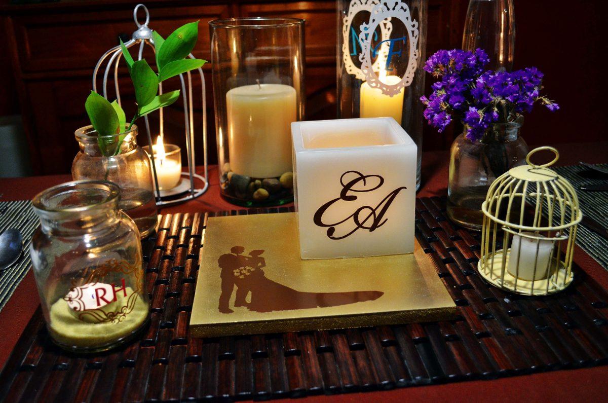 Centro de mesa para boda en tonos dorado y chocolate for Mesa cristal y dorado