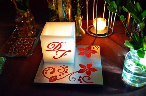 centro de mesa para boda en tonos plata y rojo aluzza