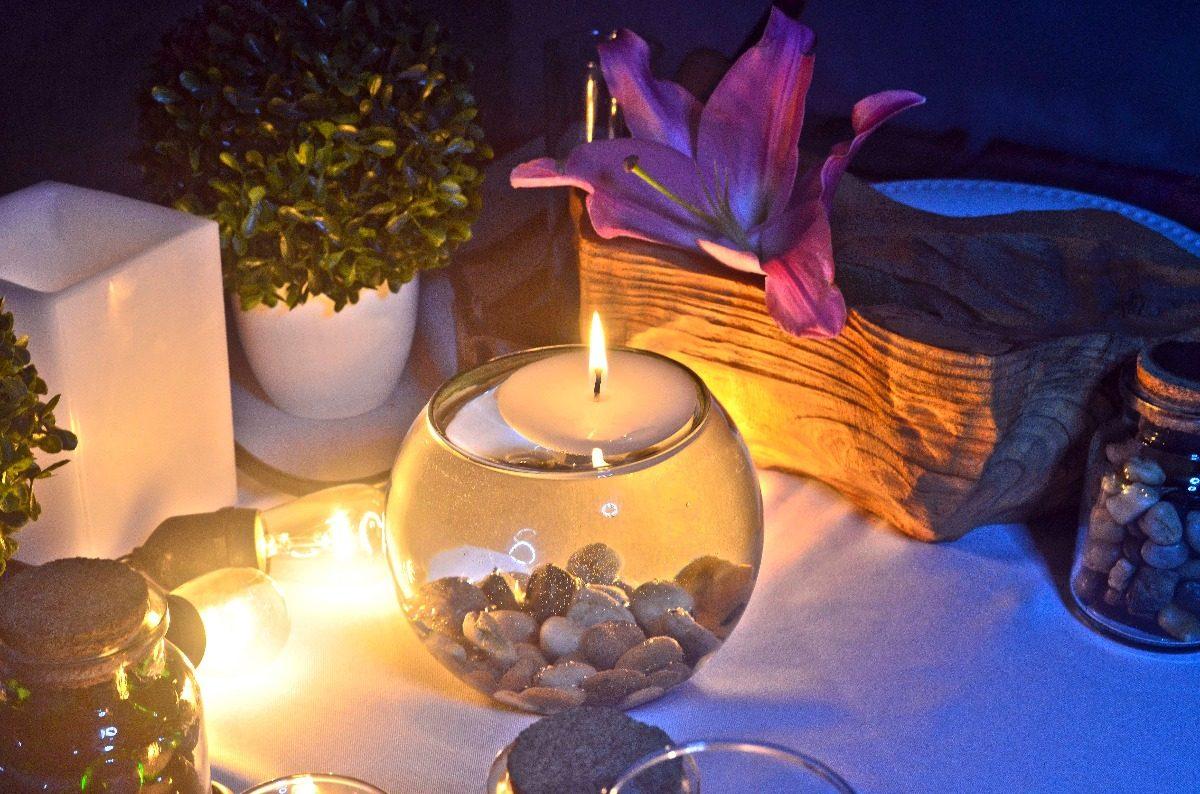 Centro de mesa pecera con vela flotante aluzza 1 370 for Centros de mesa con peceras