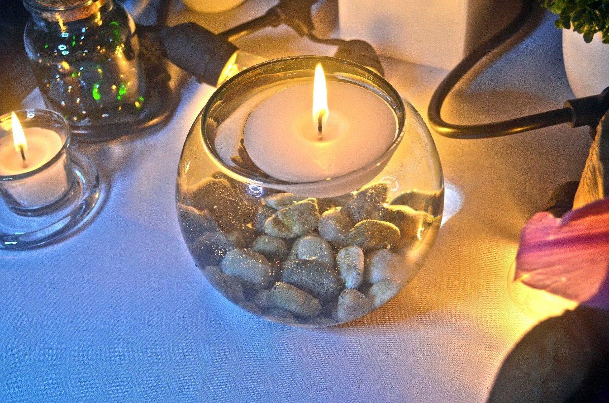 Centro de mesa pecera con vela flotante aluzza 1 370 - Centros de mesa con peceras ...