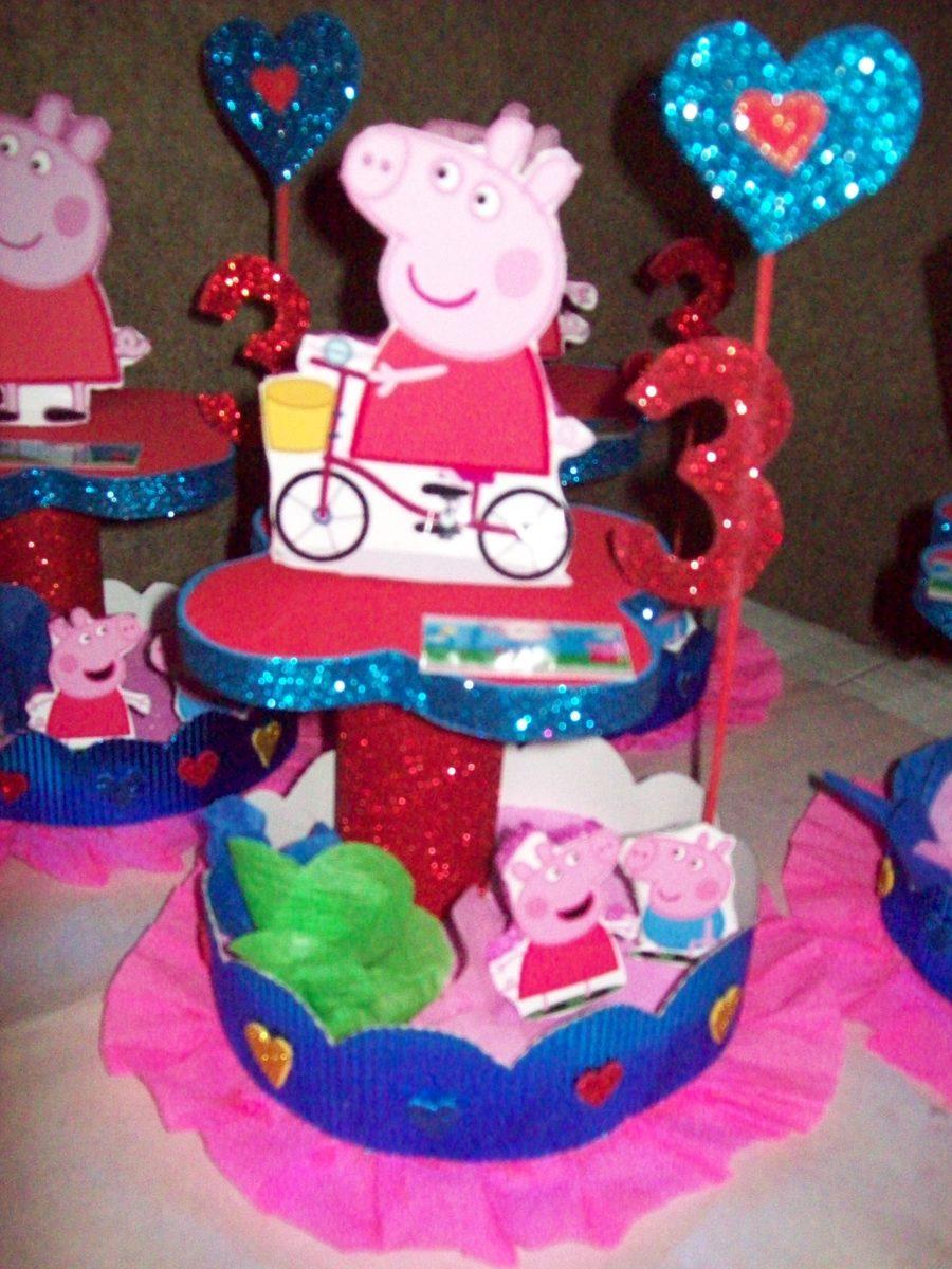 Centro de mesa peppa pig 85 00 en mercado libre for Mesa de peppa pig