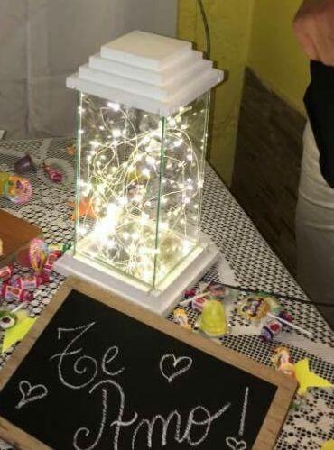 centro de mesa veladora luces led cumple de 15 casamiento