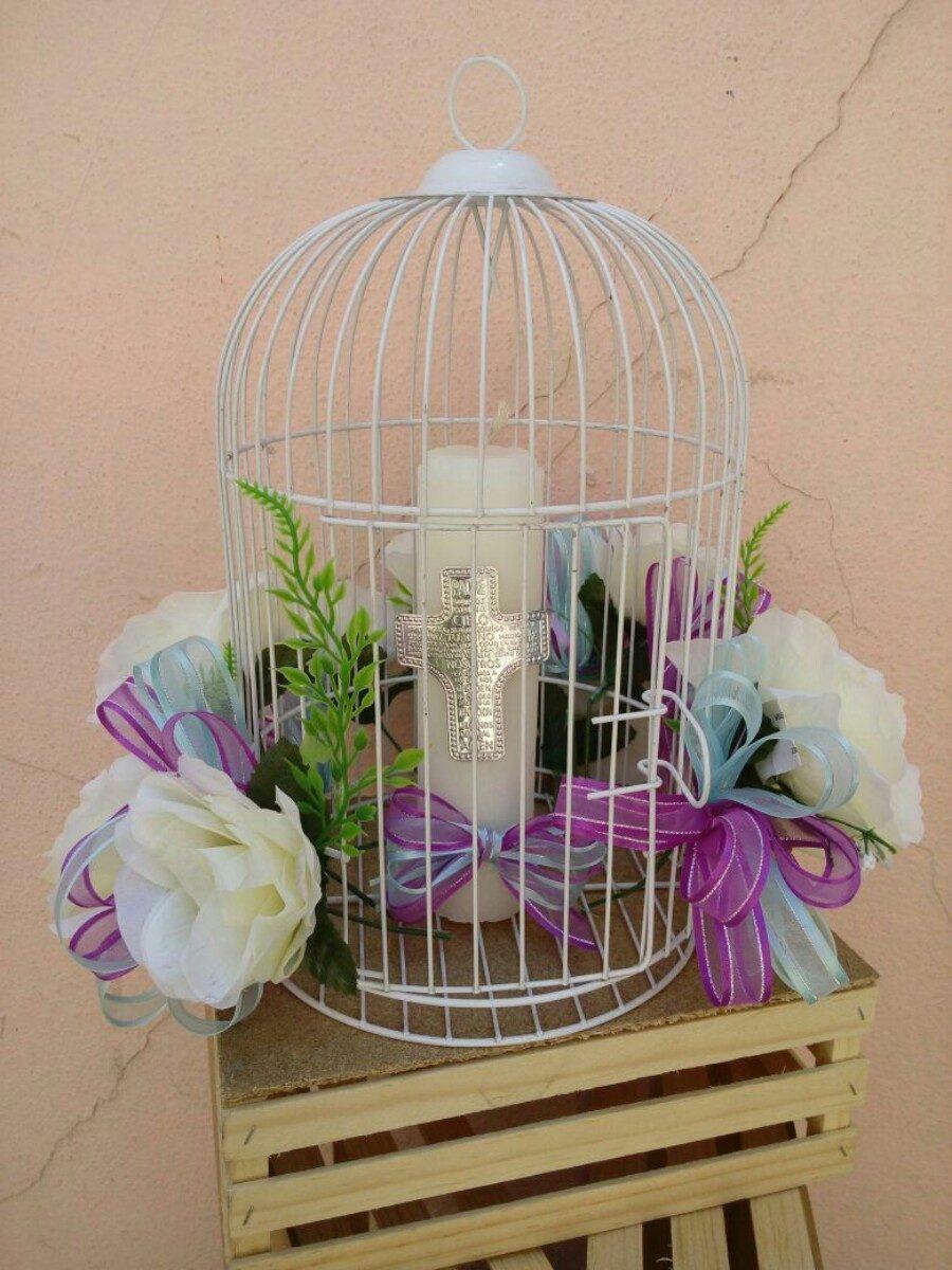 Centro de mesa vintage jaula decorada boda bautizo recuerdos en mercado libre - Mesas decoradas para bodas ...