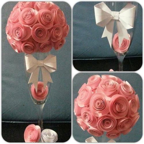 centro de mesa,flores papel(origami) copas.todo artesanal