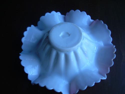 centro de meza de opalina pintado a mano antiguo