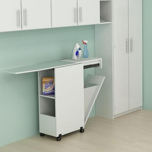 centro de planchado con cajón de guardado blanco