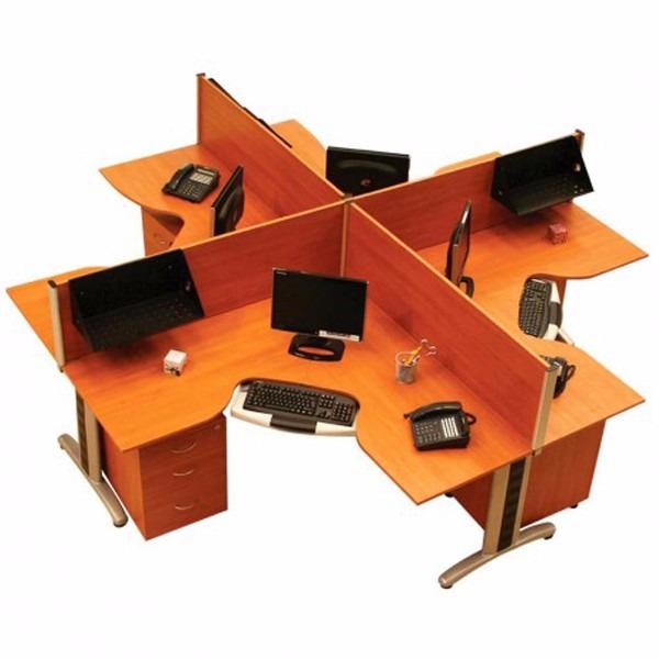 Centro de trabajo ahd miami 4 modulos 120 120 45 for Modulos de trabajo para oficina