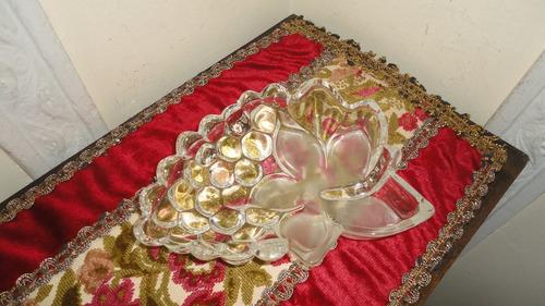 centro despojador de cristal diseño hoja y uvas vealo