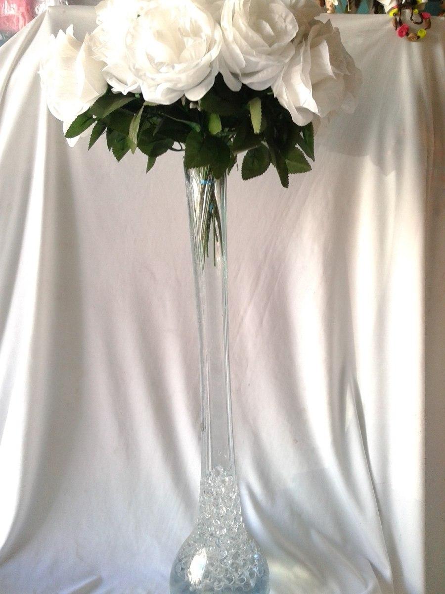 Florero centro de mesa 60 cm vidrio soplado xv a os boda - Mesas de cristal para bodas ...