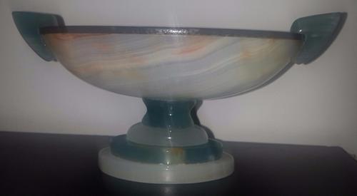 centro mesa ovalado con asas piedra dura agata 16,5 cm