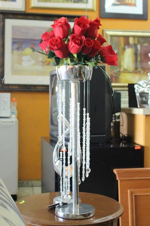 Centro de mesa para banquetes de pewter con cristales 001 - Cristales para mesa ...