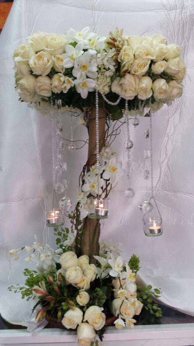 Centro de mesa para boda rbol con velas 1 en for Centros de mesa artificiales