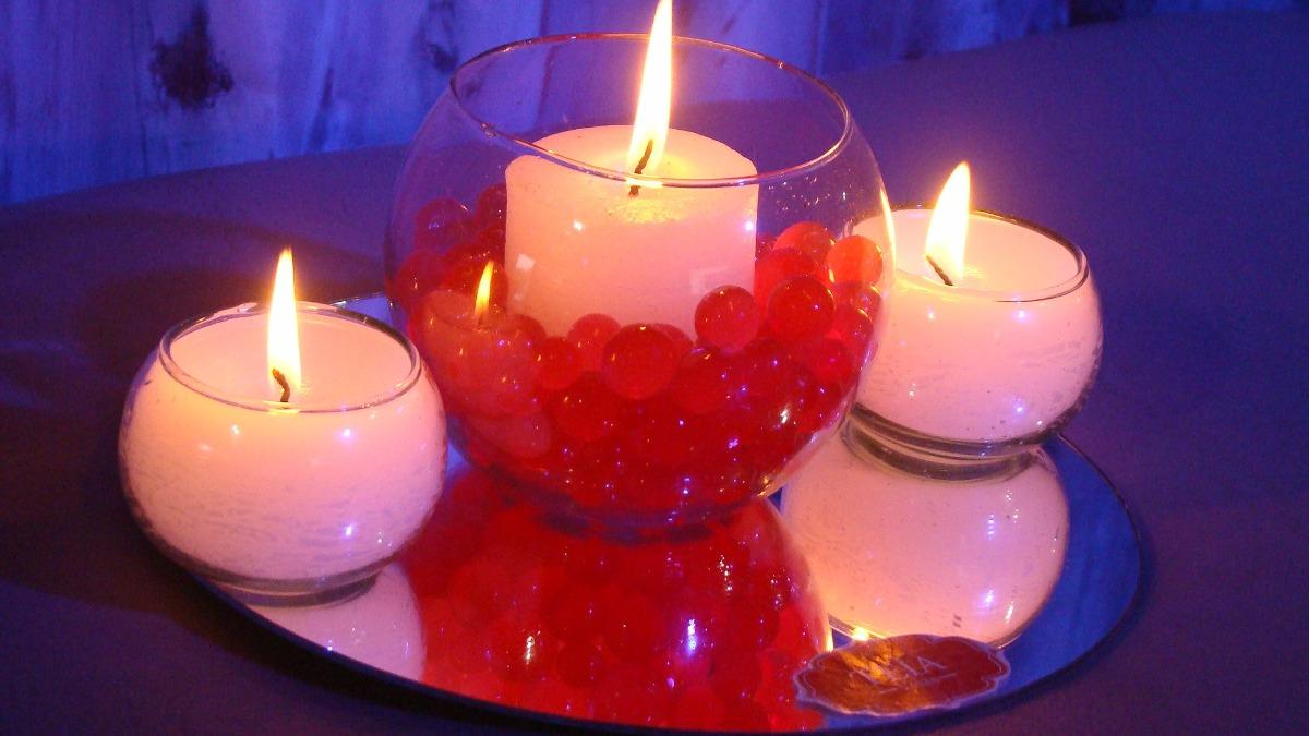 centro mesa pecera vela mini bochin espejo teia velas
