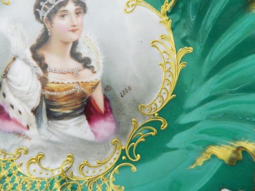 centro porcelana francesa decorado a mano y firmado