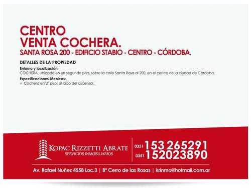 centro (santa rosa 200) - venta cochera.