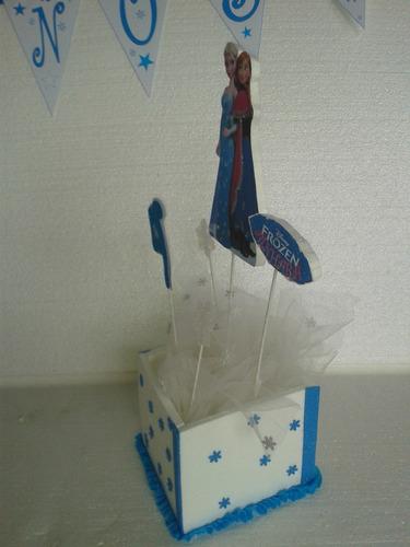 centros de 30cm echos en cajitas de frozen personalizados