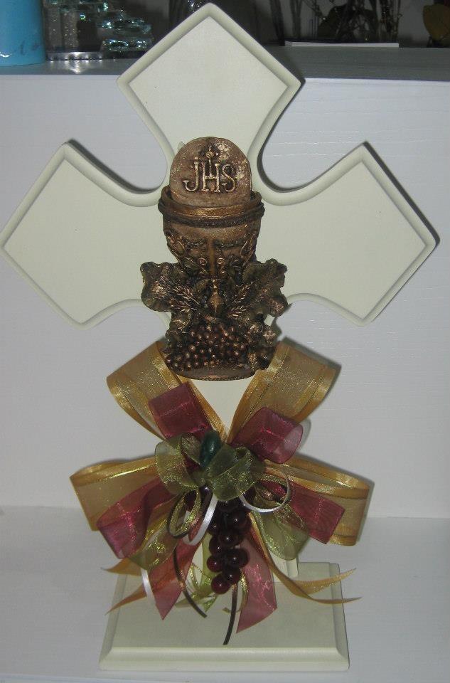 Centros de mesa cruz de madera rosario san judas tadeo - Centros d mesa primera comunion ...