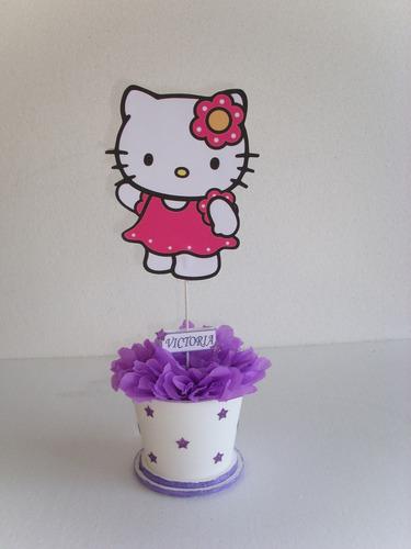 centros de mesa de hello kitty en tarrito colores a elecion