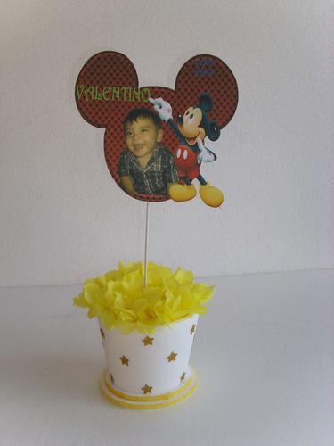 centros de mesa de mickey con foto del cumpleanero/a 4x520