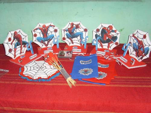 centros de mesa del hombre araña ,goloinas ,imanes, bolsitas
