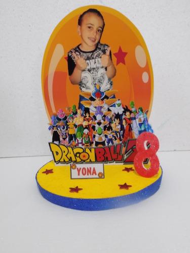 centros de mesa dragon ball z con foto del cumpleañero 35cm