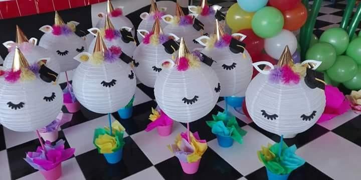 Centros de mesa unicornio xv a os cumplea os bodas for Diseno de mesa de unicornio