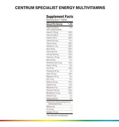 centrum specialist energía 60 unidades completo multivitamin