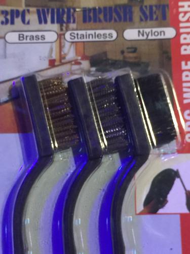 cepillo alambre acero bronce plastico kit x 3 chicos