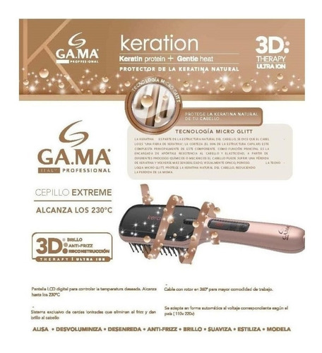 cepillo alisador gama innova extreme digital bivolt 230º - tecnología ion ceramic anti frizz - garantia oficial gama