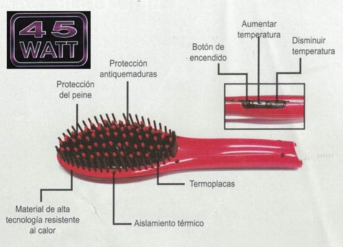 cepillo alisador peine planchita pelo brushing colores suzik