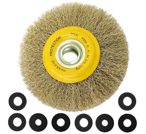 cepillo circular para amoladora de banco 175 mm mota