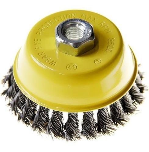 cepillo copa 60 mm acero trenzado mota amoladora angular