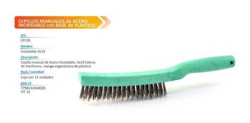 cepillo de acero para parrila c/mango 4x19 calabro limpieza