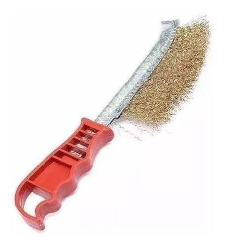 cepillo de bronce mango plástico rojo