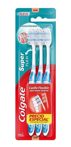 cepillo dental colgate super flexi suave 3 pzs