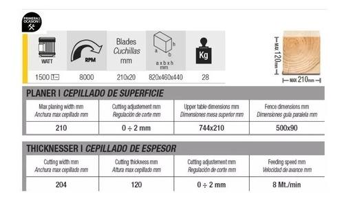 cepillo + garlopa banco 210mm femi pf204 1500w - ynter
