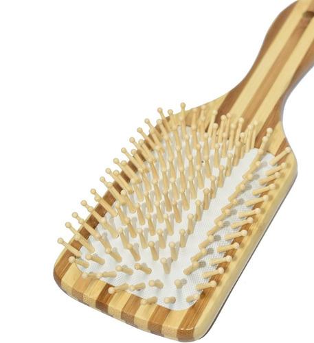 cepillo plano suave en madera tipo bambu para peinar cabello