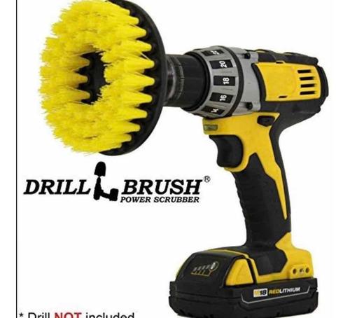 cepillo taladro amarillo para lavado de muebles