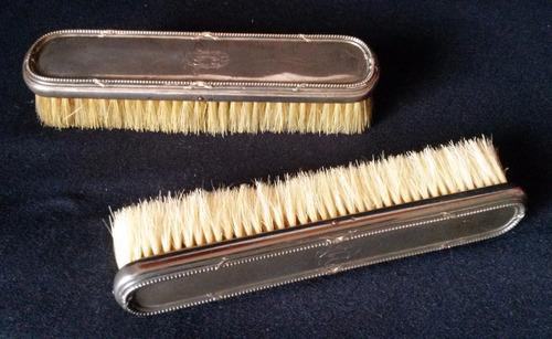 cepillos antiguos de ropa de plata francesa sellados