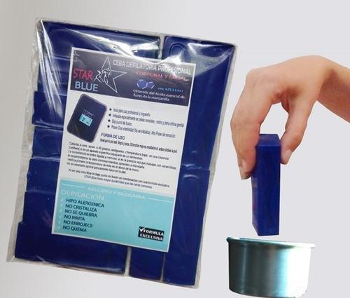cera azul elástica barras 1k +espátulas+gel post depilatorio