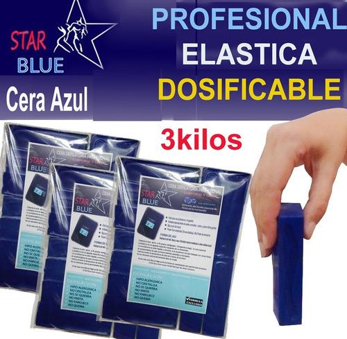 cera azul  elástica x 3 kg. lingotes + espatulas star blue