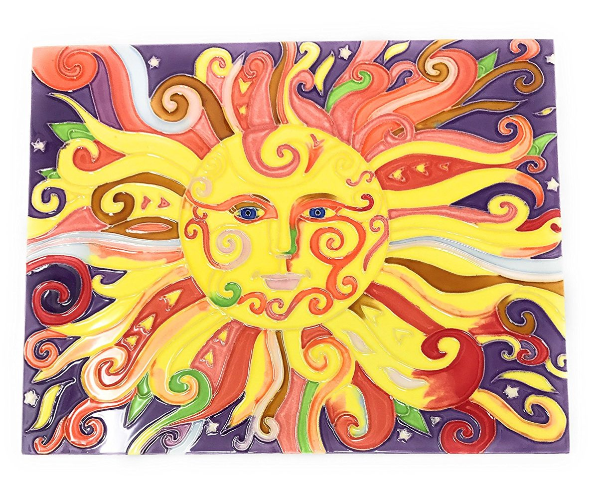 Ceramic Art Plaque By Tile Craft, Colorful Sun, Wall Decor ...