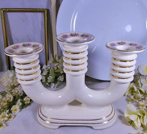 cerámica lota n° 2  candelabro de tres luces hermoso