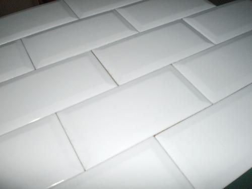 cerámica rectangular inglés (subte)blanco brillante biselada