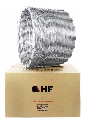 cerca concertina inox dupla 40 cm rolo p/ 10 metros + kit