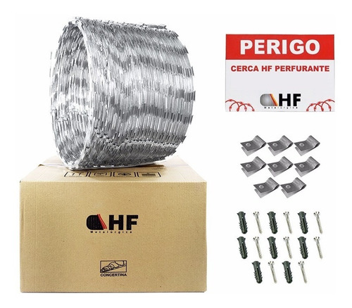 cerca concertina inox dupla 45 cm rolo p/ 08 metros + kit